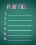 priorities chalkboard list illustration Royalty Free Stock Photography