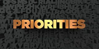 Priorities - Gold text on black background - 3D rendered royalty free stock picture. This image can be used for an online website banner ad or a print postcard Royalty Free Stock Images