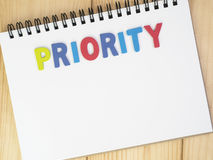 Priorities on notebook 2 Royalty Free Stock Photo