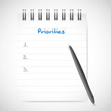 Priorities notepad list illustration design. Over a white background Stock Image
