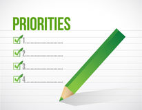 Priorities notepad list illustration design. Over a white background Royalty Free Stock Images