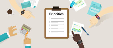 Priorities priority list desk business personal. Vector Royalty Free Stock Photos