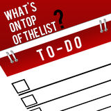 Priorities - Top of the List. Image of a To-Do list with priority related text at top vector illustration