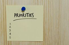 Priorities written on yellow note Royalty Free Stock Photography