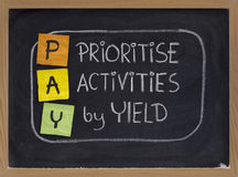 Prioritise activities by yield - PAY. PAY (prioritise activities by yield ) acronym, principle of working smart, color sticky notes and white chalk handwriting stock photos