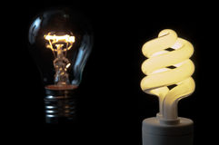 Priority of compact flourescent light bulb. A compact fluorescent light bulbs saves money in comparison with a usual lamp stock photo
