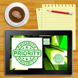 Priority On Cubes Shows Urgent Dispatch Tablet. Priority On Cubes Shows Urgent Dispatch Or Deadline Tablet vector illustration