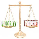 Priority 3d Words Weighing Most Important Jobs Tasks Scale Stock Images