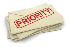 Priority letters  (clipping path included) Stock Photo