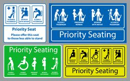 Priority seat sticker. using in public transportation, like bus, train, mass rapid transit and other. Easy to modify vector illustration