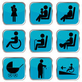 Priority seating area buttons Royalty Free Stock Image