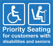 Priority Seating for customers with disabilities and seniors sign Vector Stock Photography