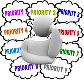 Priority Thought Clouds Ordering Most Important Jobs Tasks. Priority words in thought clouds ordering most important and critical jobs and tasks in work Royalty Free Stock Photography