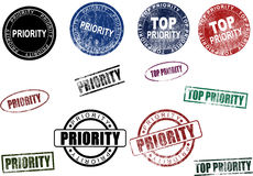 Priority & Top Priority Stamps Seals Set (Vector) Royalty Free Stock Image