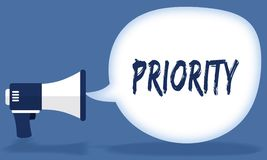 PRIORITY writing in speech bubble with megaphone or loudspeaker. Illustration concept Royalty Free Stock Images