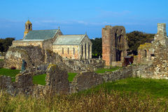 Priory de Lindisfarne sur l'île sainte Photo stock