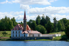 Priory Palace. Gatchina. Russia. Priory Palace Priory is situated in the south-eastern shore of the Black Lake. Built in 1799 for Paul I Stock Photo