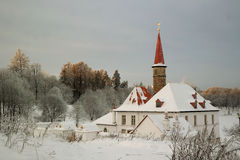 Priory Palace. In Gatchina in winter Royalty Free Stock Images