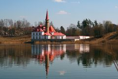 Priory Palace on the shore of a pond in a Park in Gatchina. Stock Images