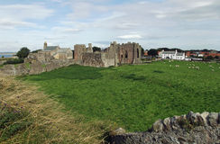 The Priory and village, Holy Island. Founded by St Aidan, now a peaceful ruin on the edge of the small village Royalty Free Stock Images