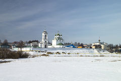 Priory from white brick in Russia in winter. Wall of the priory from white brick at winter day in Russia Stock Image