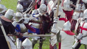 PRIOZERSK, RUSSIA- JULY 05, 2015:Battle knights during medieval festival historic. Russian fortress in the town of Priozersk, Korela, Russia. July 5, 2015 stock video