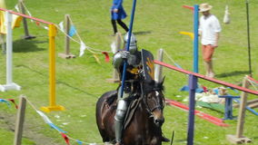 PRIOZERSK, RUSSIA- JULY 05, 2015:Jousting tournament on horseback during the historic medieval festival. Russian fortress in the town of Priozersk, Korela stock video