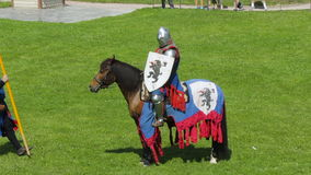 PRIOZERSK, RUSSIA- JULY 05, 2015:Knight on horseback during the historic medieval festival. Russian fortress in the town of  Priozersk, Korela, Russia. July 5 stock video footage