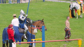 PRIOZERSK, RUSSIA- JULY 05, 2015:Knight on horseback during the historic medieval festival. Russian fortress in the town of  Priozersk, Korela, Russia. July 5 stock video
