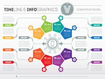 PriPart of the report with logo and icons set. Vector infographi Stock Image