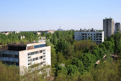 Pripyat city and Chernobyl Nuclear Power Plant view Royalty Free Stock Image
