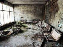 Pripyat city of ghost and playground abadoned cars stock photos