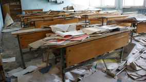 Pripyat Classroom. A classroom that was hastily evacuated after the Chernobyl Power Plant Disaster, Pripyat City, inside the 10 km zone of the Chernobyl Region Royalty Free Stock Photography