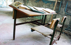 Pripyat Classroom. A classroom that was hastily evacuated after the Chernobyl Power Plant Disaster, Pripyat City, inside the 10 km zone of the Chernobyl Region Stock Photo