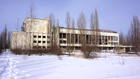 Pripyat Cultural Center. A once-bustling cultural center now stands abandoned and forgotten on Pripyat's main square in 10 km zone of the Chernobyl Region Royalty Free Stock Images