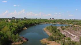 Pripyat Flod copter flyg- sikt arkivfilmer