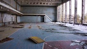 Pripyat Gymnasium. An abandoned gymnasium in Pri'pyat City, inside the 10 km zone of the Chernobyl Region, Ukraine Royalty Free Stock Photography