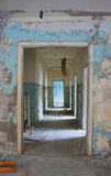Pripyat Hallway. A hallway in a vacated building Pri'pyat City building, inside the 10 km zone of the Chernobyl Region, Ukraine Stock Images