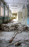 Pripyat Hallway. A hallway in a vacated building Pri'pyat City building, inside the 10 km zone of the Chernobyl Region, Ukraine Royalty Free Stock Photo