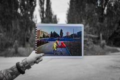 Pripyat hinter Foto lizenzfreies stockfoto