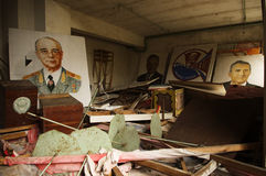 Pripyat. Portraits of Soviet leaders. Royalty Free Stock Photo