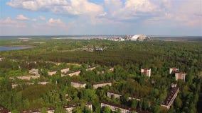 Pripyat, reactor Silueta del hombre de negocios Cowering metrajes