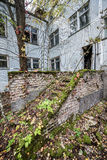 Pripyat town. Preventive clinic called Solnechny in Pripyat town, Chernobyl Nuclear Power Plant Zone of Alienation, Ukraine stock photo