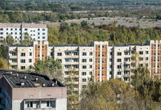 Pripyat town. View from roof of 16-storied apartment house in Pripyat town, Chernobyl Nuclear Power Plant Zone of Alienation, Ukraine Royalty Free Stock Photography