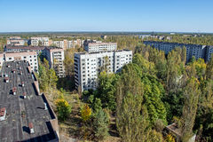 Pripyat town. View from roof of 16-storied apartment house in Pripyat town, Chernobyl Nuclear Power Plant Zone of Alienation, Ukraine Stock Image