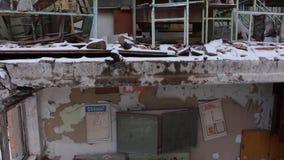 Pripyat. Ulitsa Druzhby narodov. School 1. copter. winter stock video footage