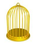 Prisão dourada do ouro do Birdcage isolada Foto de Stock Royalty Free