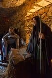 Priscos, Portugal - 29. Dezember 2016: Größte lebende oder Livekrippe in Europa Heilige Familie, Baby Jesus Christ, Mary, Jose Lizenzfreie Stockbilder