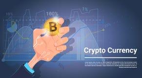 Prise Bitcoin de main au-dessus concept de devise de Digital de fond de diagrammes et de graphiques de crypto illustration de vecteur