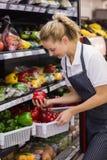 Prise blonde de sourire de travailleur légumes Photographie stock libre de droits